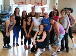 Group photo of a dance fitness workshop