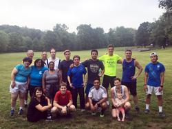 Fitness Center staff and members at Briant Park in Summit after a light run/brisk walk